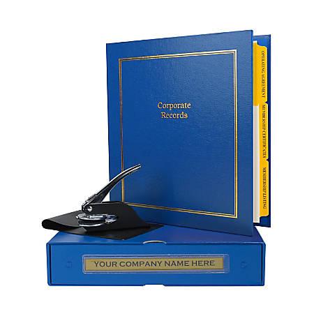 "Custom LLC Corporate Kit, 1-1/2"" Blue Binder, 20 Blue Stock Certificates, 1-5/8"" Corporate Seal Embosser"