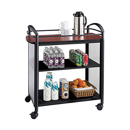 "Safco® Impromptu 3-Shelf Laminate Beverage Cart, 36 1/2""H x 34""W x 21 1/4""D, Black/Cherry"