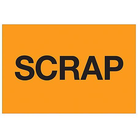 "Tape Logic® Preprinted Special Handling Labels, DL1137, Scrap, Rectangle, 2"" x 3"", Fluorescent Orange, Roll Of 500"