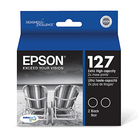 Epson® 127 Extra-High-Capacity Black Ink Cartridges (T127120-D2), Pack Of 2