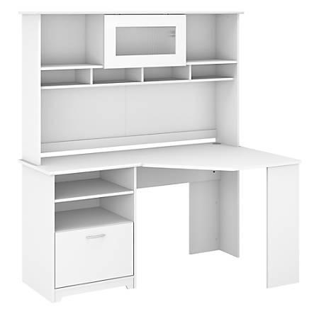 """Bush Furniture Cabot Corner Desk With Hutch, 60""""W, White, Standard Delivery"""