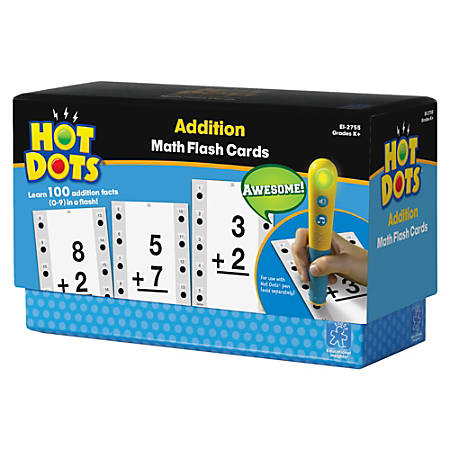 Educational Insights® Hot Dots® Math Flash Cards, Addition, Facts 0-9, Pre-K - Grade 8, Pack Of 650