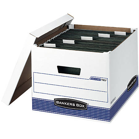 """Bankers Box® Hang'N'Stor™ 60% Recycled Storage Boxes, Lift-Off Lid, 15 1/2"""" x 12"""" x 10"""", Letter/Legal, Pack Of 4"""