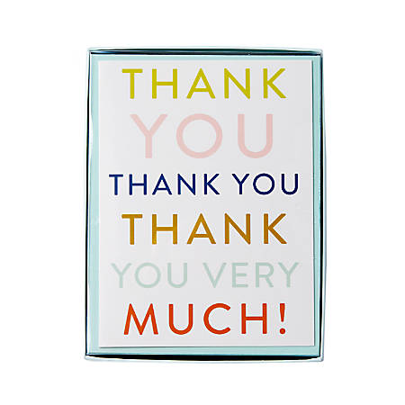 """Sincerely A Collection by C.R. Gibson® Side-Fold Boxed Notes, 3 3/4"""" x 5"""", Thank You Text, Pack Of 10"""