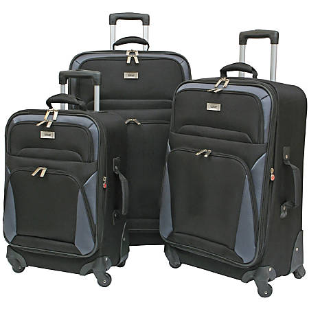 Overland Geoffrey Beene Brentwood 3-Piece Luggage Set, Black