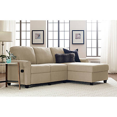 Serta Copenhagen Reclining Sectional With Storage Chaise, Right, Beige/Espresso