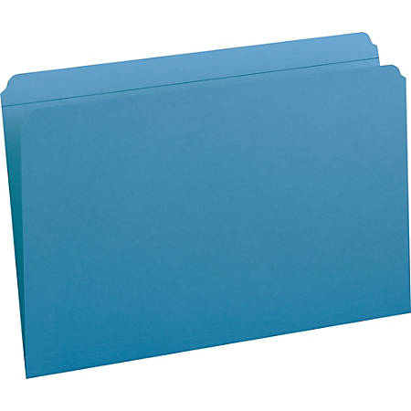 """Smead Colored Folders with Reinforced Tab - Legal - 8 1/2"""" x 14"""" Sheet Size - 3/4"""" Expansion - 11 pt. Folder Thickness - Blue - Recycled - 100 / Box"""