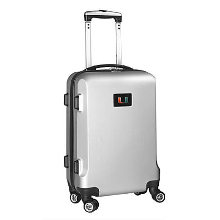 """Denco Sports Luggage Rolling Carry-On Hard Case, 20"""" x 9"""" x 13 1/2"""", Silver, Miami Hurricanes"""