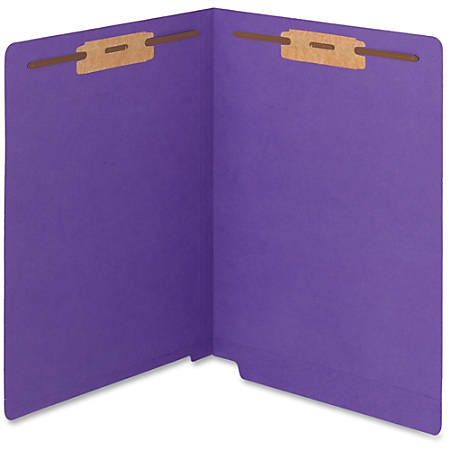 """Smead WaterShed®CutLess® End Tab Fastener Folders - Letter - 8 1/2"""" x 11"""" Sheet Size - 2 x 2B Fastener(s) - End Tab Location - 11 pt. Folder Thickness - Purple - Recycled - 50 / Box"""