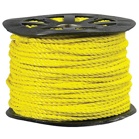 """Office Depot® Brand Twisted Polypropylene Rope, 5,600 Lb, 5/8"""" x 600', Yellow"""