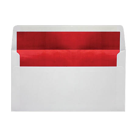 "LUX Photo Greeting Foil-Lined Invitation Envelopes With Peel & Press Closure, A7, 4 3/8"" x 8 1/4"", White/Red, Pack Of 50"