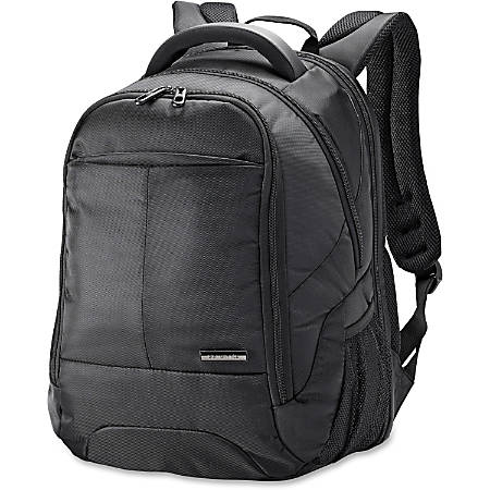 "Samsonite Classic Carrying Case (Backpack) for 15.6"" Notebook - Black - Shock Resistant Interior - Ballistic Fabric - Checkpoint Friendly - Handle, Shoulder Strap - 17.8"" Height x 12.5"" Width x 9.3"" Depth"