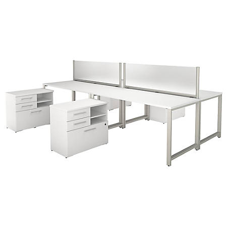 "Bush Business Furniture 400 Series 4 Person Workstation With Table Desks And Storage, 60""W x 30""D, White, Premium Installation"