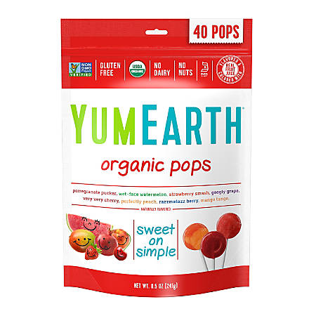 Yummy Earth Organic Lollipops, 8.5 Oz, Pack Of 3 Bags