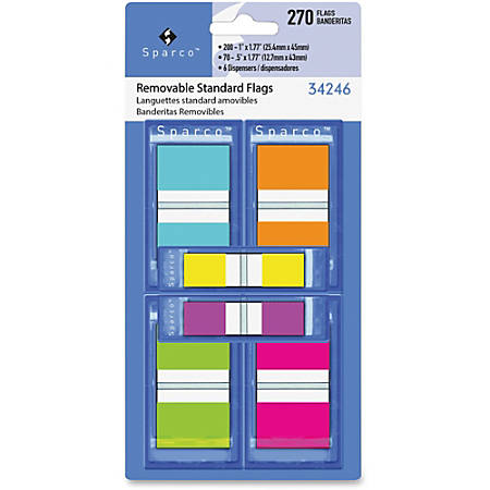 "Sparco Assorted Pop-Up Flags Combo Pack - 0.50"", 1"" - Assorted - Self-adhesive, Repositionable, Removable, Writable - 270 / Pack"