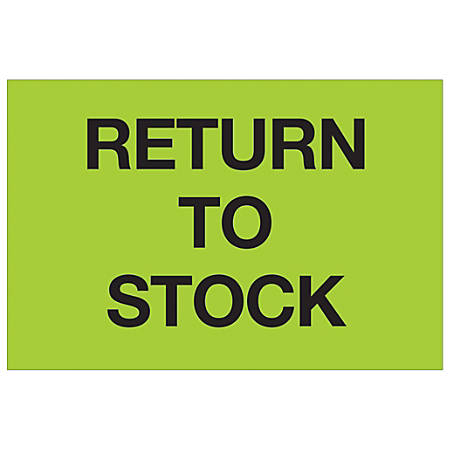 """Tape Logic® Preprinted Special Handling Labels, DL1151, Return To Stock, Rectangle, 2"""" x 3"""", Fluorescent Green, Roll Of 500"""