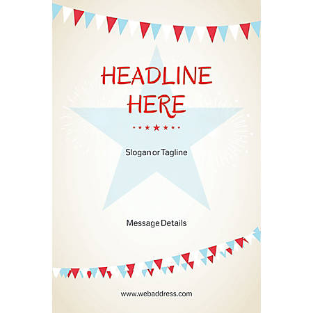 Adhesive Sign, Bunting Star, Vertical
