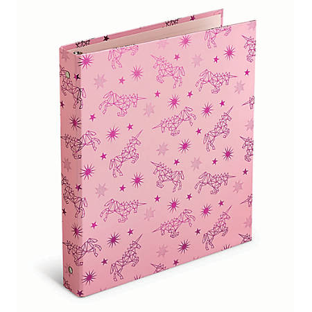"Office Depot® Brand Casebound Binders, 1"" Rings, Pink Unicorns"