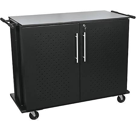 """Balt™ Odyssey 8-Shelf Laptop Charging Cart, 40""""H x 53""""W x 24""""D, Charcoal"""
