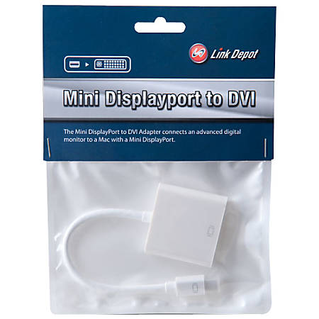 """Link Depot DisplayPort/DVI Cable - 7.87"""" DisplayPort/DVI Video Cable for Video Device, Monitor - First End: 1 x Mini DisplayPort Digital Video - Second End: 1 x DVI Female Digital Video - White"""