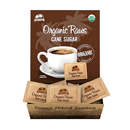 Organic Raw Cane Sugar Packets, Box Of 200 Packets