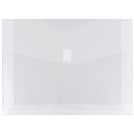 """JAM Paper® Plastic Booklet Expansion Envelopes With Hook & Loop Closure, Letter-Size, 9 3/4"""" x 13"""", Clear, Pack Of 12"""