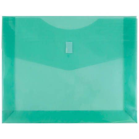 """JAM Paper® Plastic Booklet Expansion Envelopes With Hook & Loop Closure, Letter-Size, 9 3/4"""" x 13"""", Green, Pack Of 12"""