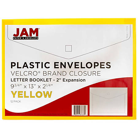 "JAM Paper® Plastic Booklet Expansion Envelopes With Hook & Loop Closure, Letter-Size, 9 3/4"" x 13"", Yellow, Pack Of 12"