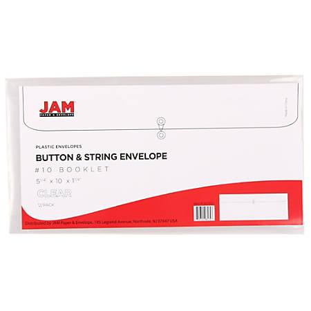 "JAM Paper® Index Booklet Plastic Envelopes, #10, 5 1/4"" x 10"", Clear, Pack Of 12"
