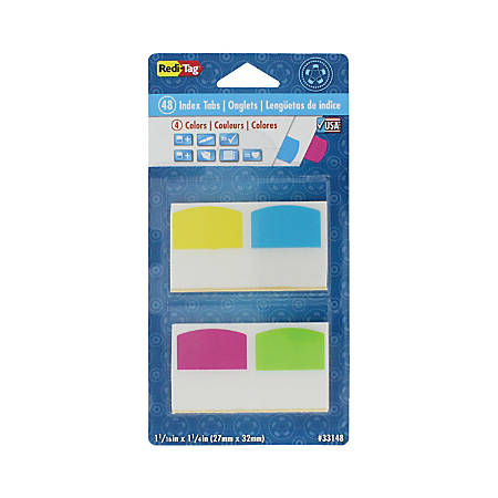 "Redi-Tag® Removable Index Tabs, Assorted Colors, 1 1/16"" x 1 1/4"", Pack Of 48"