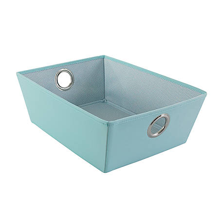 "See Jane Work® Decorative Storage, Low-Profile Fabric Bin, 5 1/8"" x 11"" x 14 1/2"", Blue"