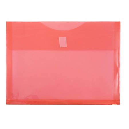 """JAM Paper® Plastic Booklet Expansion Envelopes With Hook & Loop Closure, Letter-Size, 9 3/4"""" x 13"""", Red, Pack Of 12"""