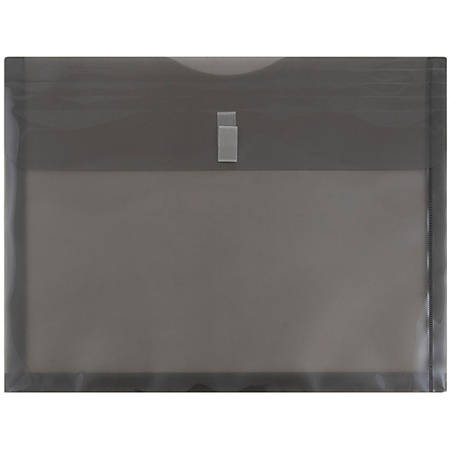 "JAM Paper® Plastic Booklet Expansion Envelopes With Hook & Loop Closure, Letter-Size, 9 3/4"" x 13"", Smoke Gray, Pack Of 12"