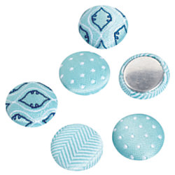 See Jane Work® Magnets, Fabric, Blue, Pack Of 6