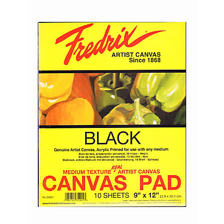 "Fredrix Black Canvas Pads, 9"" x 12"", 10 Sheets, Pack Of 2"