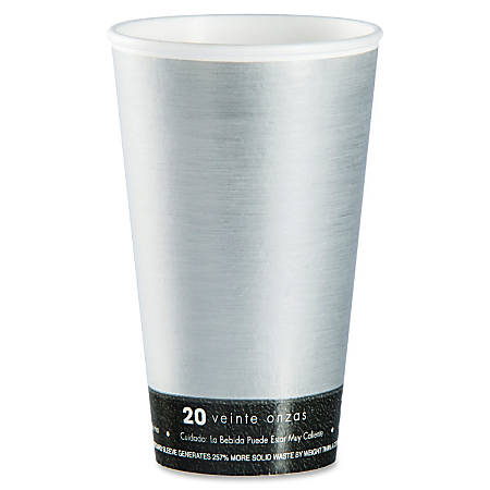 Dart ThermoThin Disposable Cups - 20 fl oz - 500 / Carton - Silver, Black - Hot Drink, Cold Drink, Beverage