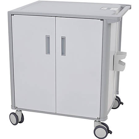 """Ergotron StyleView Transfer Cart - 36 Shelf - Push Handle Handle - 80 lb Capacity - 4 Casters - 5"""" Caster Size - 37.5"""" Width x 27.9"""" Depth x 41.3"""" Height - White, Gray"""