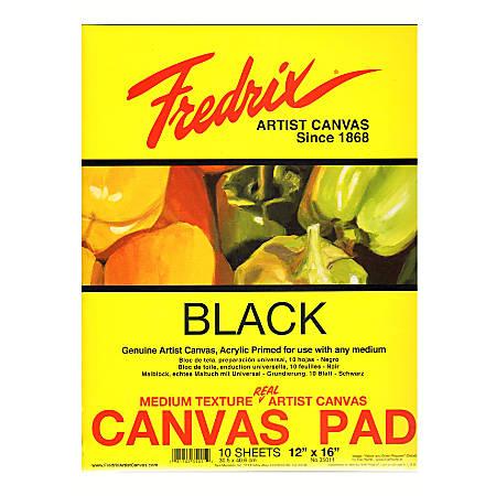 "Fredrix Black Canvas Pad, 12"" x 16"", 10 Sheets"