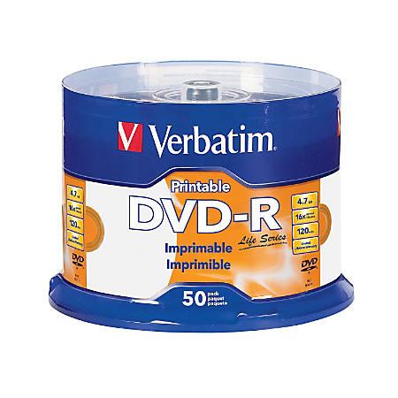 Verbatim® Life Series DVD-R Printable Disc Spindle, Pack Of 50