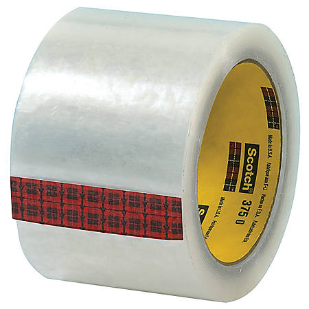 """3M® 375 Carton Sealing Tape, 3"""" x 55 Yd., Clear, Case Of 24"""