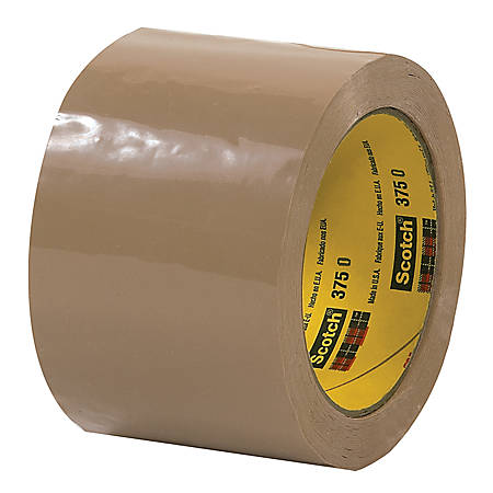 "3M® 375 Carton Sealing Tape, 3"" x 55 Yd., Tan, Case Of 24"