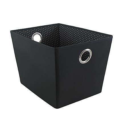 "See Jane Work® Decorative Storage, Large Fabric Bin, 14 1/2""H x 10 1/2""W x 10 1/4""D, Black Dot"
