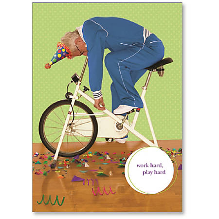 "Viabella Fun Birthday Greeting Card With Envelope, Work Hard Play Hard, 5"" x 7"""