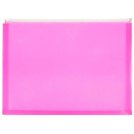 """JAM Paper® Plastic Envelopes With Zipper Closure, Letter-Size, 9 3/4"""" x 13"""", Hot Pink, Pack Of 12"""