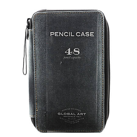 Global Art Canvas Pencil Case, 48-Pencil Capacity, Steel Blue