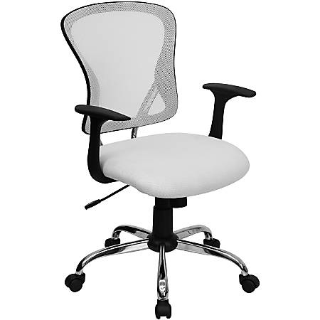 Flash Furniture Mesh Mid-Back Task Chair, White/Black/Chrome