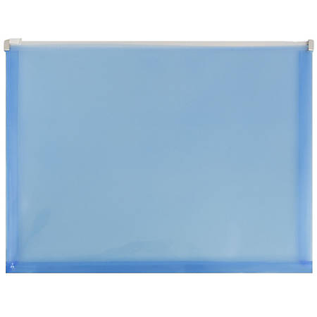"JAM Paper® Plastic Envelopes With Zipper Closure, Letter-Size, 9 3/4"" x 13"", Blue, Pack Of 12"