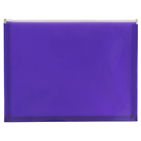 "JAM Paper® Plastic Envelopes With Zipper Closure, Letter-Size, 9 3/4"" x 13"", Purple, Pack Of 12"