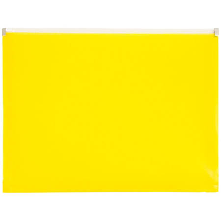 """JAM Paper® Plastic Envelopes With Zipper Closure, Letter-Size, 9 3/4"""" x 13"""", Yellow, Pack Of 12"""