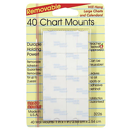 "Miller Studio Removable Magic Mounts®, Chart Mounts, 1"" x 1"", White, 40 Tabs Per Pack, Set Of 6 Packs"